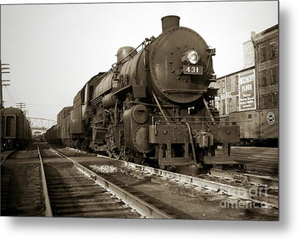 Lehigh Valley Steam Locomotive 431 At Wilkes Barre Pa. 1940s Metal Print