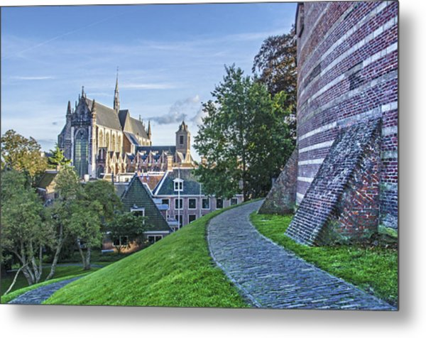 Leiden, The Church And The Castle Metal Print
