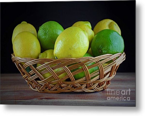 Lemon And Lime Basket Metal Print