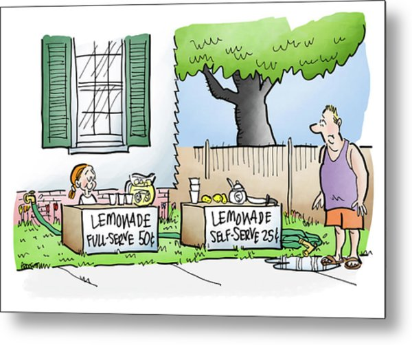 Metal Print featuring the digital art Lemonade Stand by Mark Armstrong