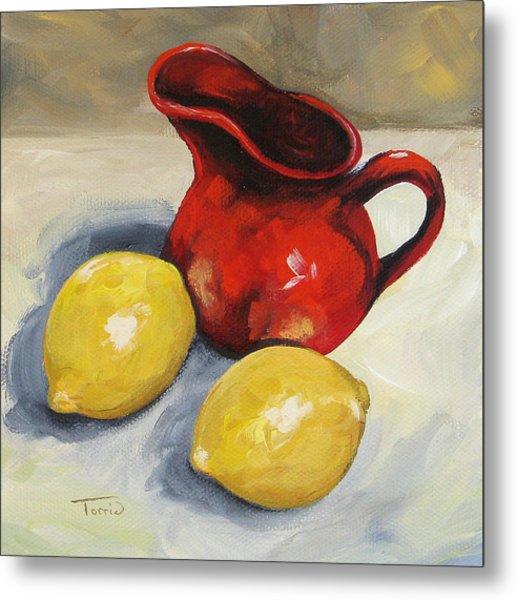 Lemons And Red Creamer Metal Print by Torrie Smiley