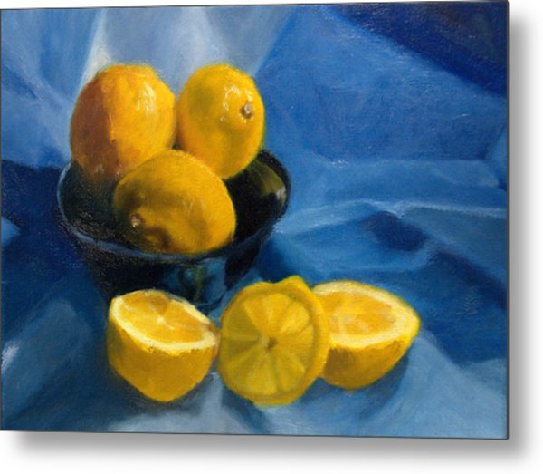 Lemons In Blue Bowl Metal Print by Stephanie Allison