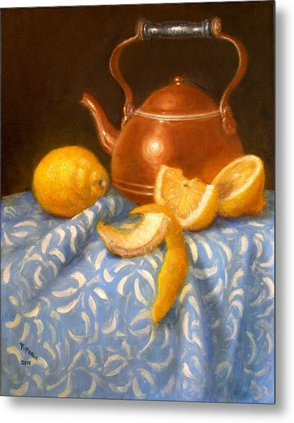 Lemons With Copper Teapot Metal Print by Donelli  DiMaria