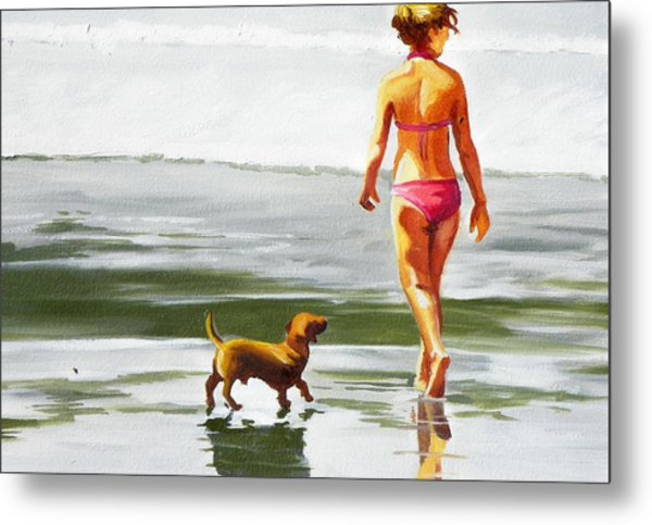Leo And Kara On The Shore Metal Print by Rhondda Saunders