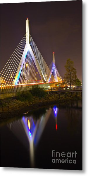 Leonard P. Zakim Bunker Hill Bridge Reflection Metal Print