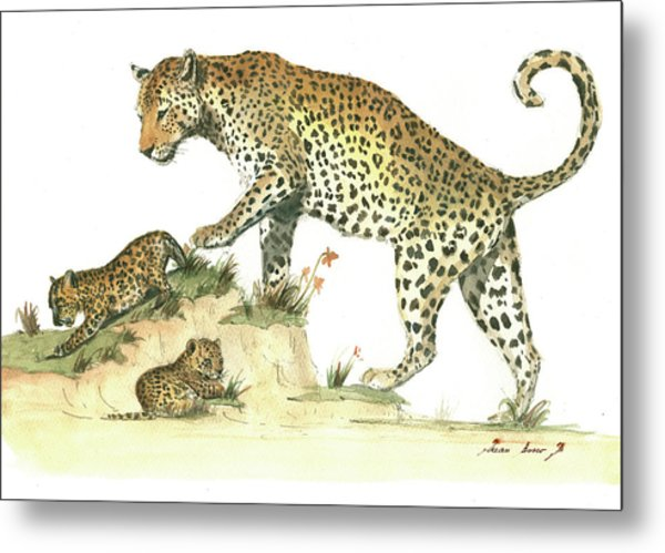Leopard Family Metal Print