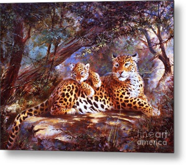 Leopard Love Metal Print by Silvia  Duran