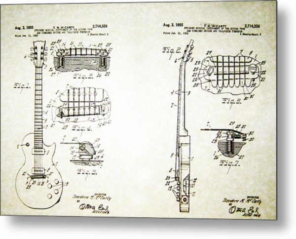 Les Paul Guitar Patent 1955 Metal Print