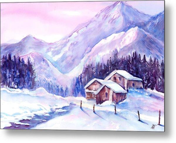 Swiss Mountain Cabins In Snow Metal Print