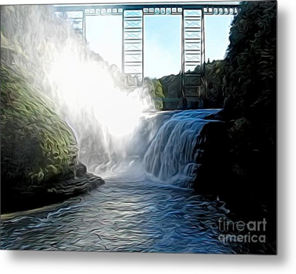 Letchworth State Park Upper Falls And Railroad Trestle Abstract Metal Print