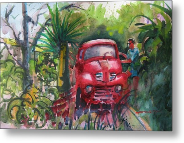 Let's Go Surfin', Red Metal Print