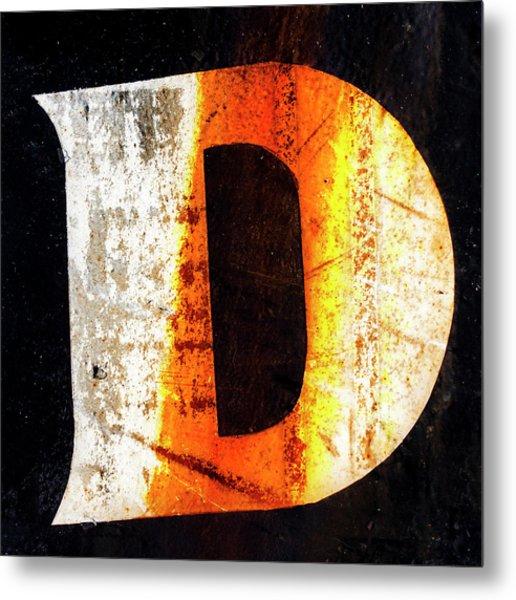 Letter D Squared Metal Print