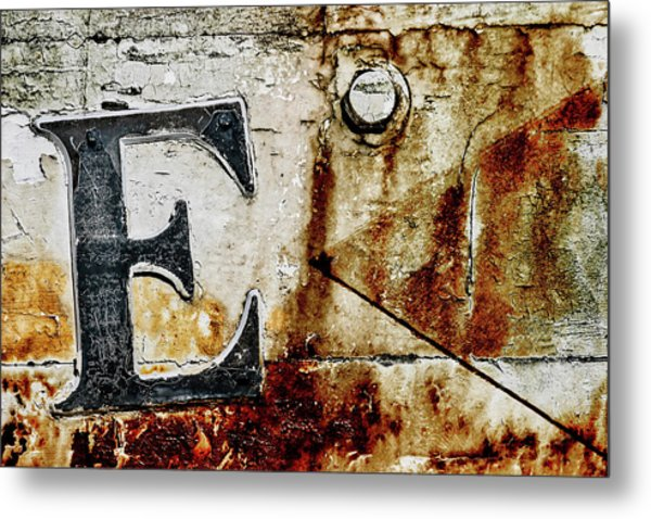 Letter E In The Rust Metal Print