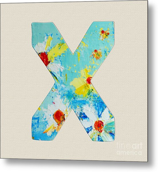Letter X Roman Alphabet - A Floral Expression, Typography Art Metal Print
