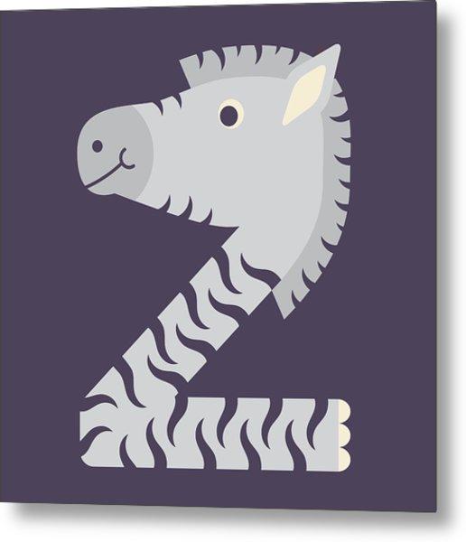 Letter Z - Animal Alphabet - Zebra Monogram Metal Print