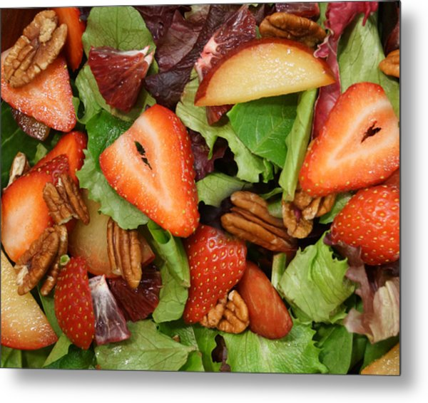 Lettuce Strawberry Plum Salad Metal Print