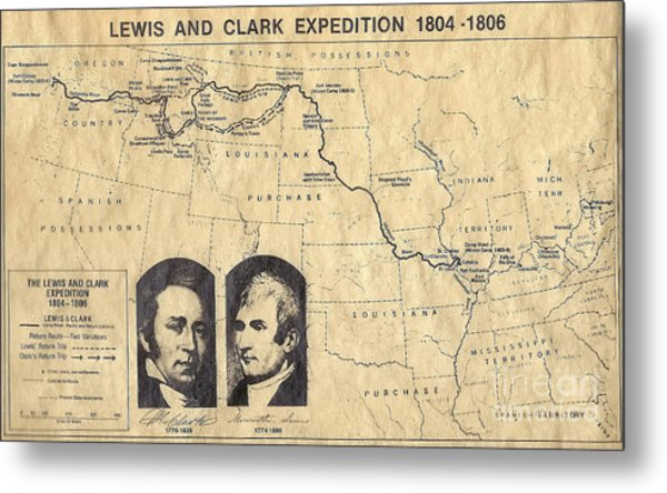 Lewis And Clark Expedition Map Metal Print