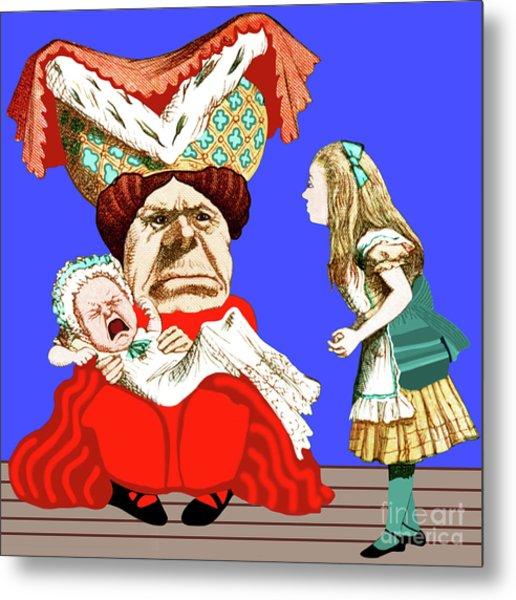 Metal Print featuring the painting Lewis Carrolls Alice, Red Queen And Crying Infant by Marian Cates