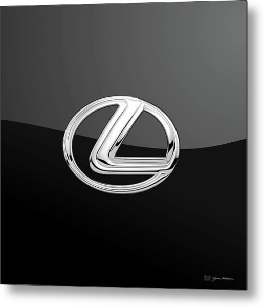 Lexus - 3d Badge On Black Metal Print