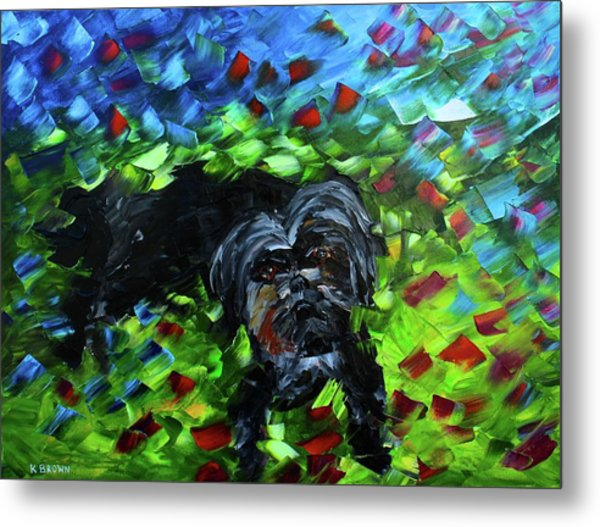 Metal Print featuring the painting lhasa Apso by Kevin Brown