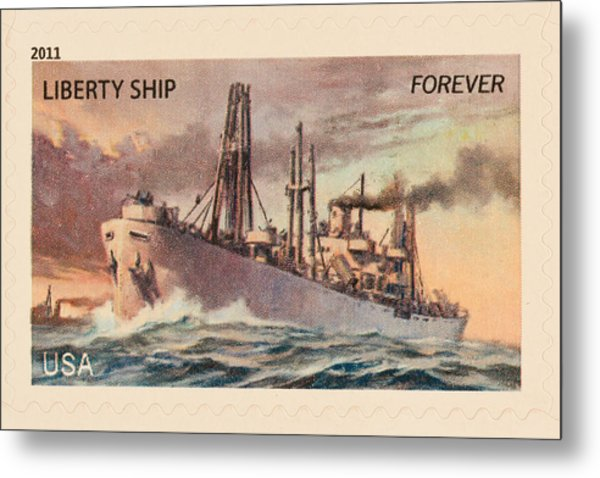 Liberty Ship Stamp Metal Print