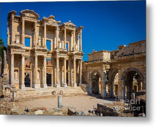 Library Of Celcus Metal Print