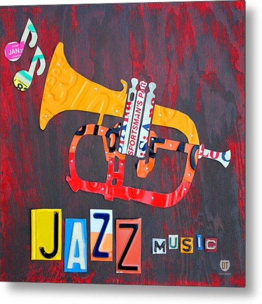 License Plate Art Jazz Series Number One Trumpet Metal Print