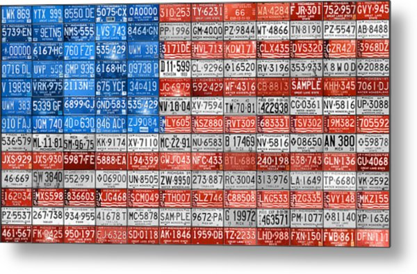 License Plate Flag Of The United States Metal Print