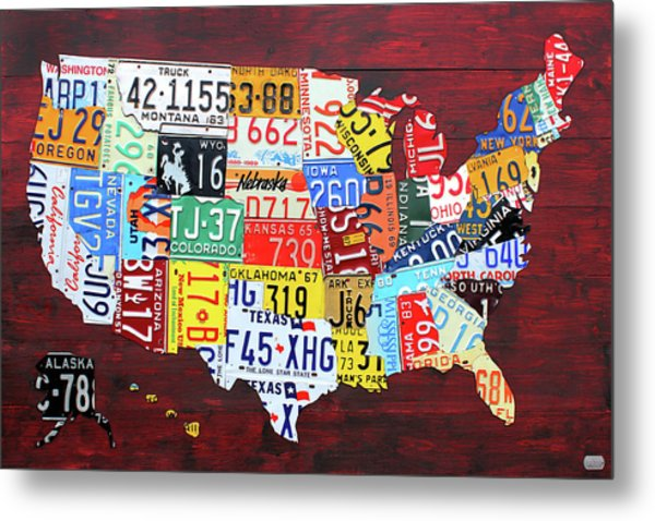 License Plate Map Of The United States Custom Edition 2017 Metal Print