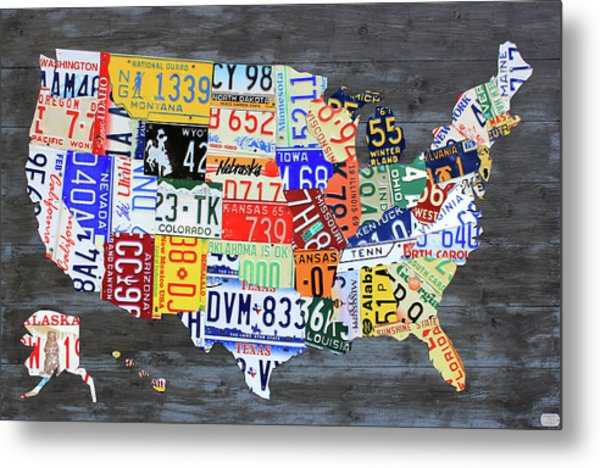 License Plate Map Of The United States Gray Edition 16 With Special Kodiak Bear Alaska Plate Metal Print