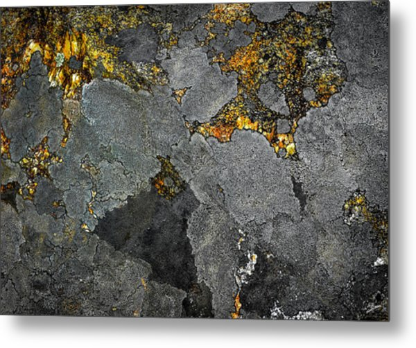 Lichen On Granite Rock Abstract Metal Print