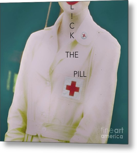 Lick The Pill  Metal Print by Steven Digman
