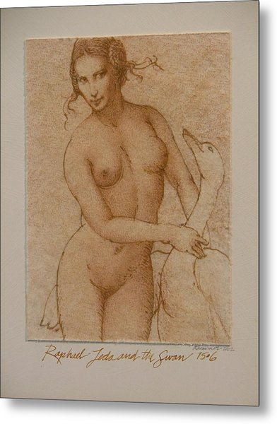 Lida And The Swan After Raphael Metal Print by Gary Kaemmer