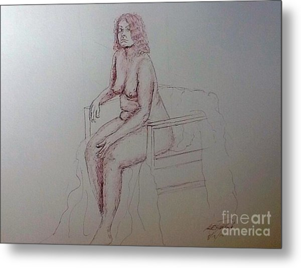 Life Drawing Nude Lady Metal Print