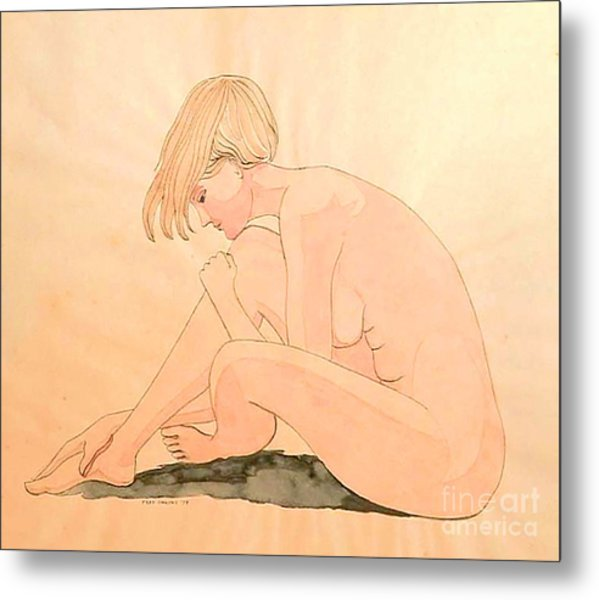 Life Drawing Watercolor Metal Print by Fred Jinkins