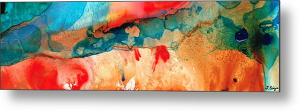 Life Eternal Red And Green Abstract Metal Print