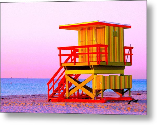 Lifeguard Stand Miami Beach Metal Print