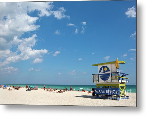 Metal Print featuring the photograph Lifeguard Station Miami Beach Florida by Steven Frame
