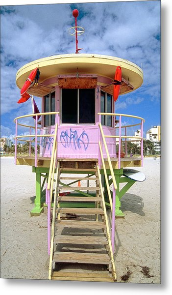 Lifeguard Station South Beach Miami  Florida Metal Print by George Oze