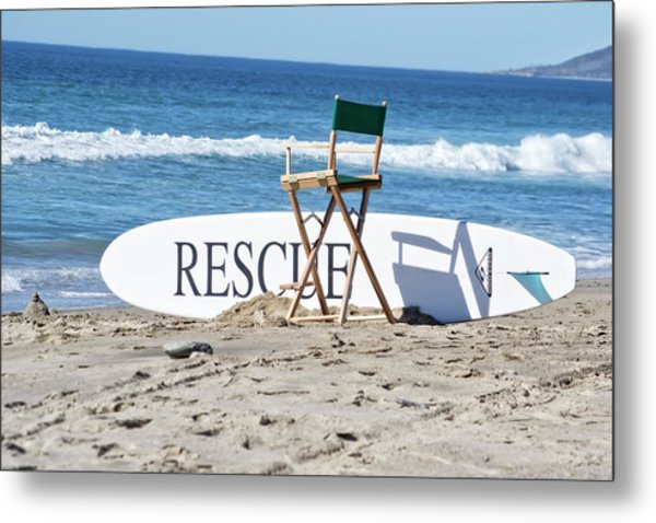 Lifeguard Surfboard Rescue Station  Metal Print