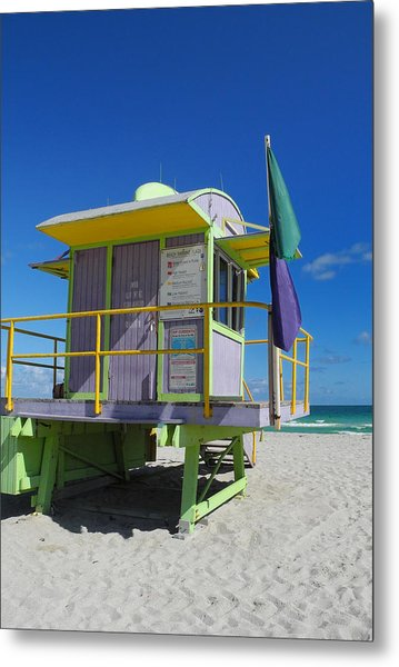 Lifeguard Tower 2 - South Beach - Miami Metal Print