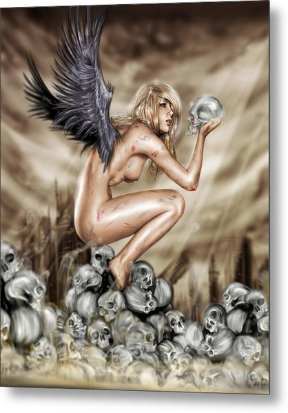 Metal Print featuring the painting Lifting The Veil by Pete Tapang