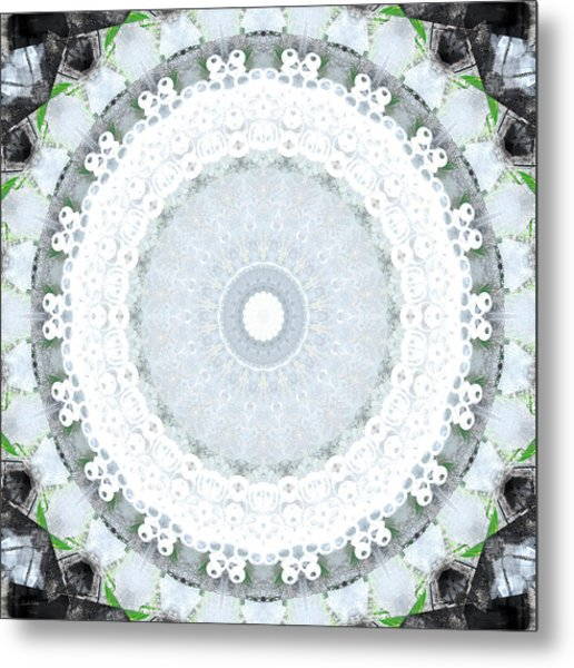 Light Blue Mandala- Art By Linda Woods Metal Print