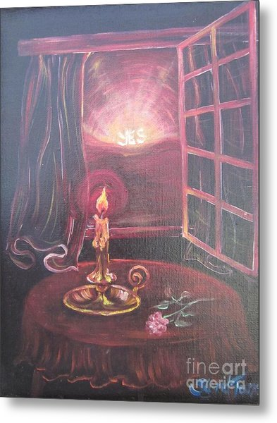 Flying Lamb Productions      Light The Yes Candle Metal Print