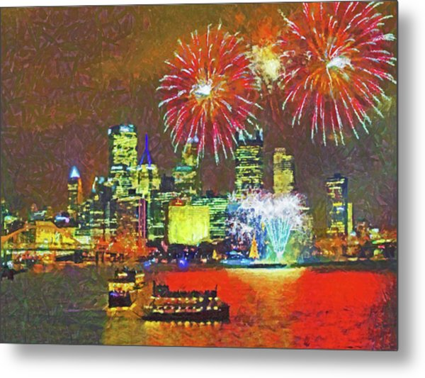 Metal Print featuring the digital art Light Up Night In Pittsburgh by Digital Photographic Arts
