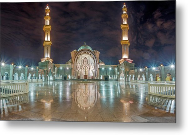 Metal Print featuring the photograph Lighted Federal Territory Mosque  by Pradeep Raja Prints