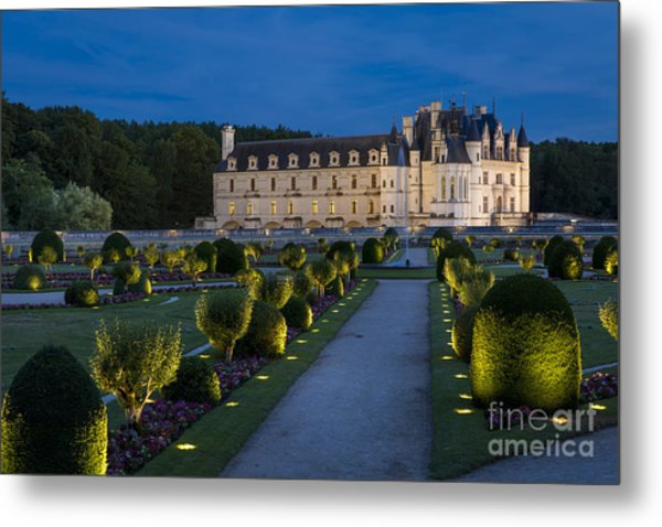 Lighted Gardens Of Chenonceau Metal Print