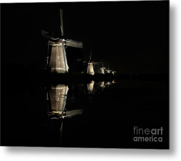 Lighted Windmills In The Black Night Metal Print