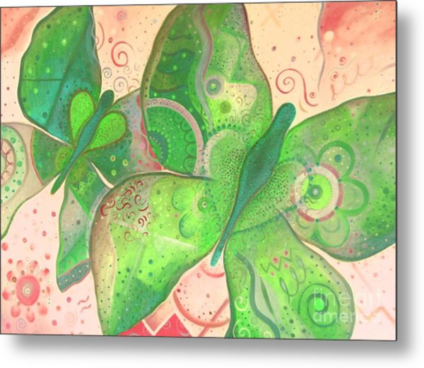 Lighthearted In Green On Red Metal Print