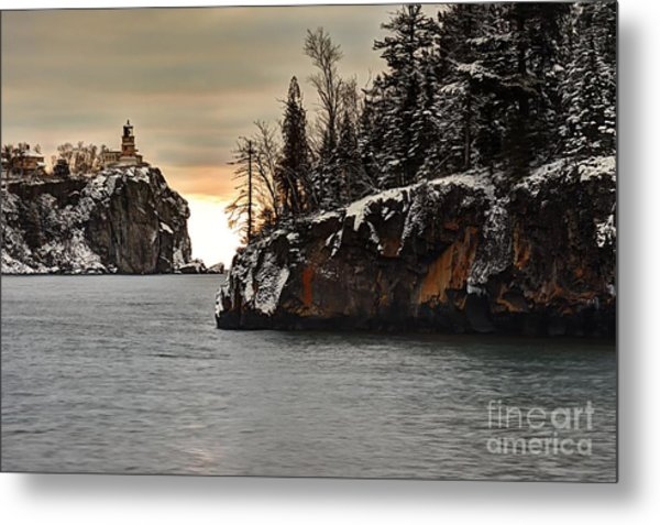Lighthouse And Island At Dawn Metal Print